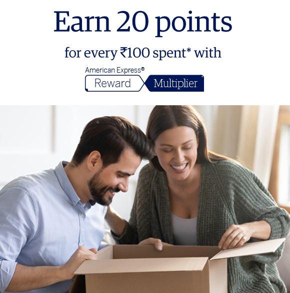 20 Reward Points per Rs. 100 on American Express (AmEx)