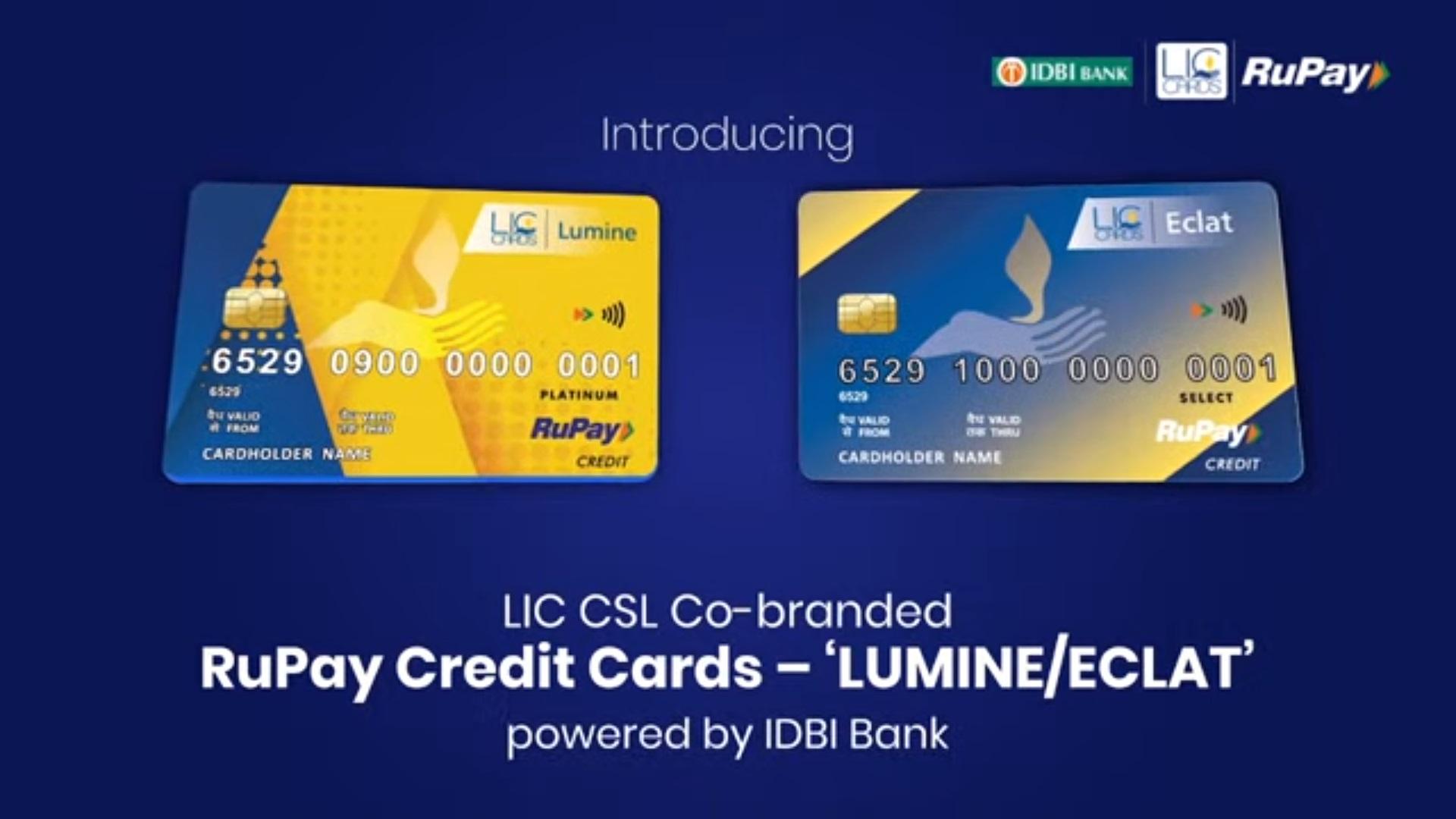 LIC IDBI Lumine and Eclat Rupay Credit Cards