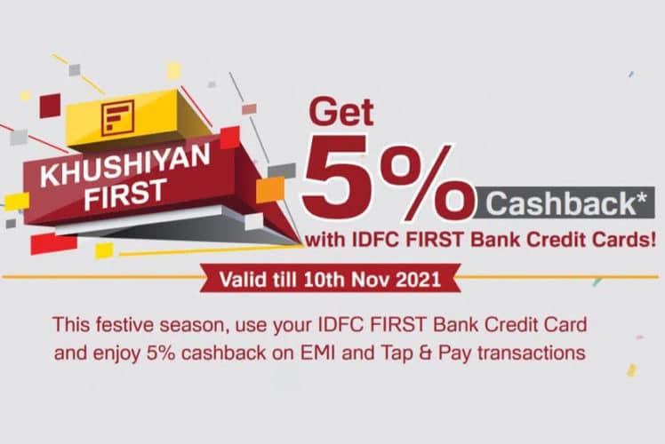 IDFC FIRST Credit Card Offer 5% Cashback on EMI