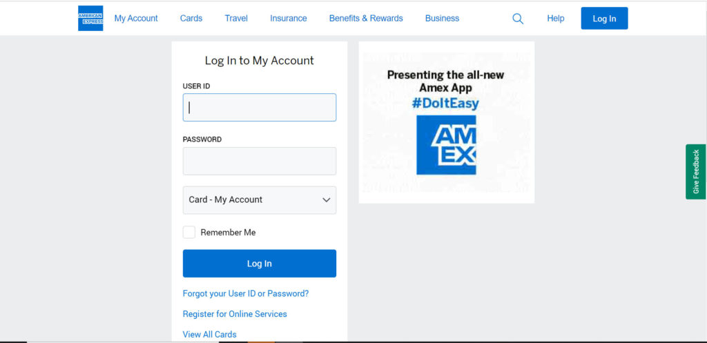 American Express Credit Card netbanking