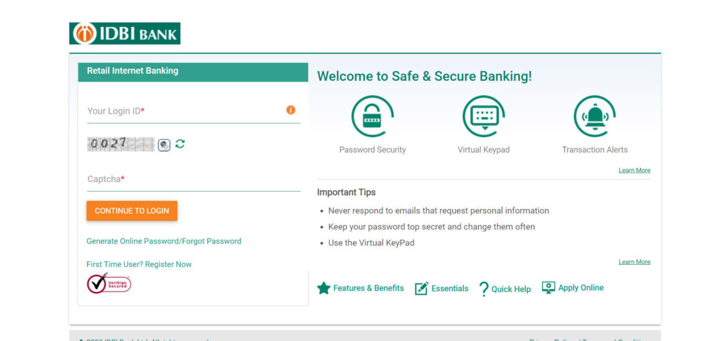 IDBI Bank credit card login