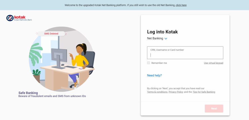 Kotak Mahindra Bank credit card login