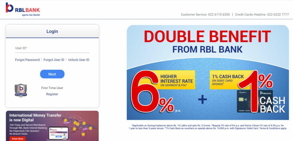 RBL Credit Card login